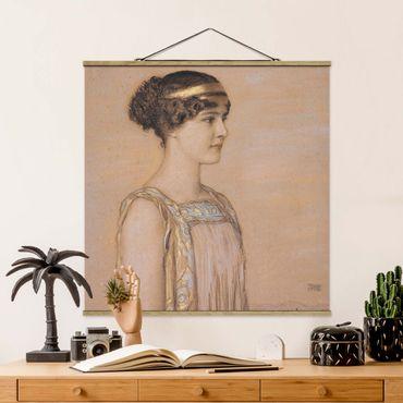 Stoffbild mit Posterleisten - Franz von Stuck - Portrait von Mary - Quadrat 1:1