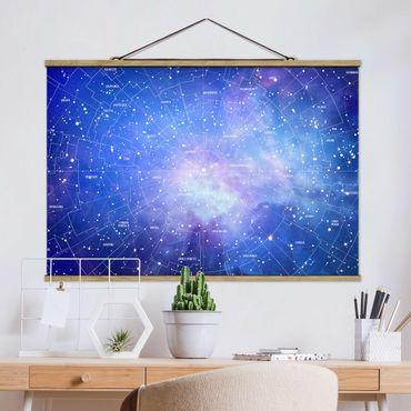 Stoffbild mit Posterleisten - Sternbild Himmelkarte - Querformat 2:3