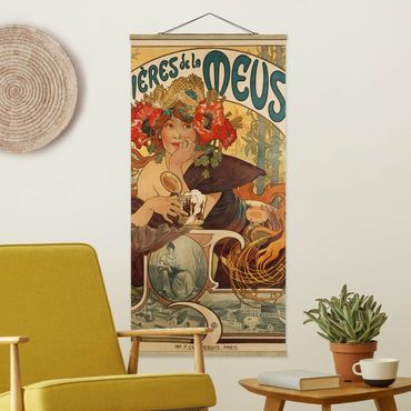Stoffbild mit Posterleisten - Alfons Mucha - Plakat für La Meuse Bier - Hochformat 1:2