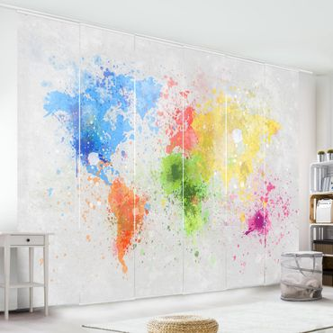 Schiebegardinen Set - Bunte Farbspritzer Weltkarte - Flächenvorhänge