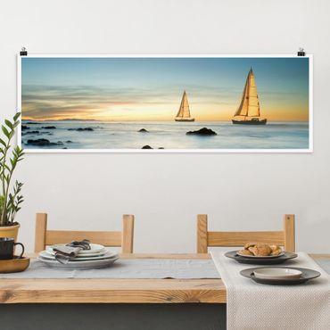 Poster - Segelschiffe im Ozean - Panorama Querformat