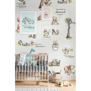 Disney Kindertapete - Winnie Pooh - Stripes - Komar Fototapete