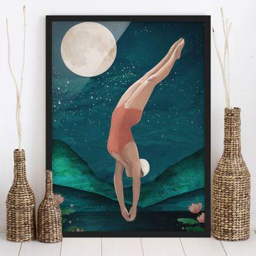 Bild mit Rahmen - Illustration Badende Frau Mond Malerei - Hochformat 4:3
