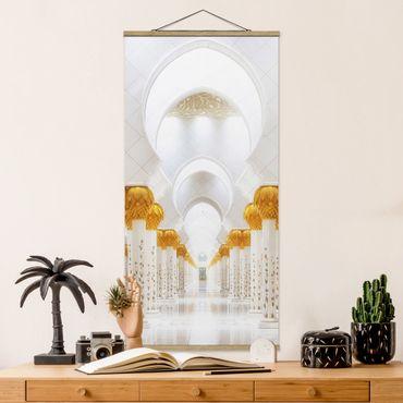 Stoffbild mit Posterleisten - Moschee in Gold - Hochformat 2:1