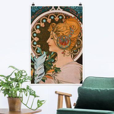 Poster - Alfons Mucha - Die Feder - Hochformat 3:2