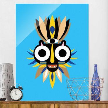 Glasbild - Collage Ethno Maske - Große Augen - Hochformat 4:3