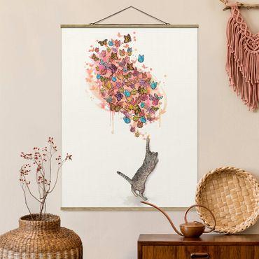 Stoffbild mit Posterleisten - Laura Graves - Illustration Katze mit bunten Schmetterlingen Malerei - Hochformat 3:4