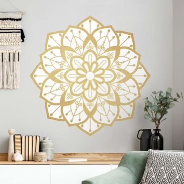 Wandtattoo - Mandala Blüte Muster gold weiß