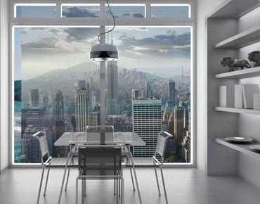 Fensterfolie - XXL Fensterbild Sonnenaufgang in New York - Fenster Sichtschutz