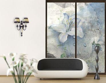 Fensterfolie - XXL Fensterbild Tränen einer Lilie - Fenster Sichtschutz