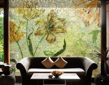 Fensterfolie - XXL Fensterbild Vintage Grasses - Fenster Sichtschutz