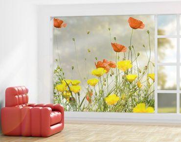 Fensterfolie - XXL Fensterbild Wild Flowers - Fenster Sichtschutz