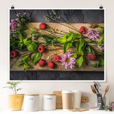 Poster - Blumen Himbeeren Minze - Querformat 3:4