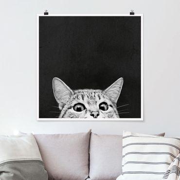 Poster - Illustration Katze Schwarz Weiß Zeichnung - Quadrat 1:1