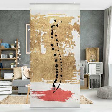 Raumteiler - Abstrakte Formen - Gold und Rosa - 250x120cm