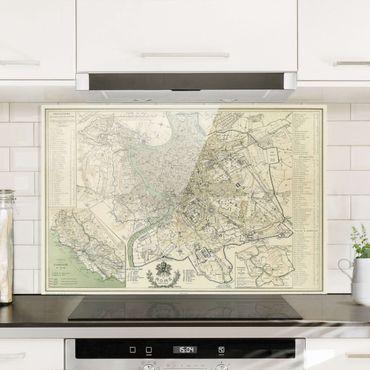 Spritzschutz Glas - Vintage Stadtplan Rom Antik - Querformat 2:3