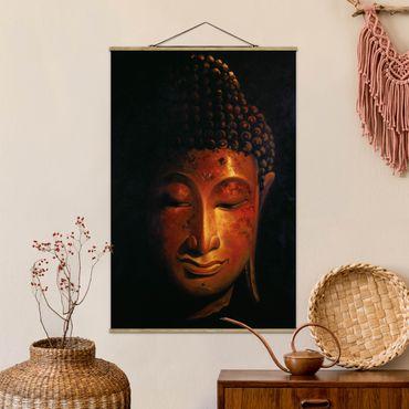 Stoffbild mit Posterleisten - Madras Buddha - Hochformat 3:2