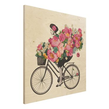 Holzbild - Illustration Frau auf Fahrrad Collage bunte Blumen - Quadrat 1:1