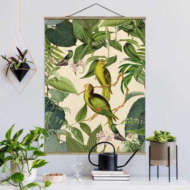 Stoffbild mit Posterleisten - Vintage Collage - Papageien im Dschungel - Hochformat 3:4