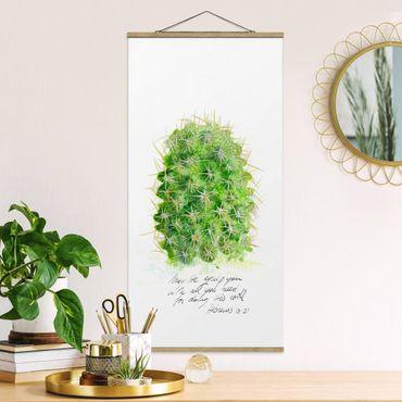 Stoffbild mit Posterleisten - Kaktus mit Bibelvers I - Hochformat 2:1