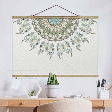 Stoffbild mit Posterleisten - Mandala Aquarell Federn halbkreis blau grün - Querformat 3:2