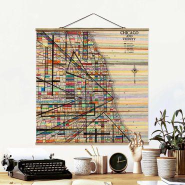Stoffbild mit Posterleisten - Moderne Karte von Chicago - Quadrat 1:1