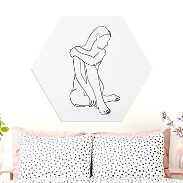 Hexagon Bild Forex - Line Art Frau Akt Schwarz Weiß