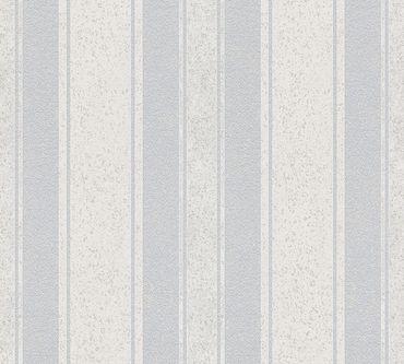 Livingwalls Streifentapete Jette 4 in Blau, Grau, Metallic