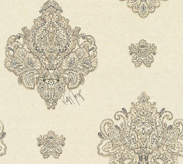 Architects Paper Mustertapete Kind of White by Wolfgang Joop in Beige, Creme, Metallic