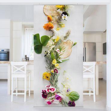 Raumteiler - Frische Kräuter mit Essblüten 250x120cm