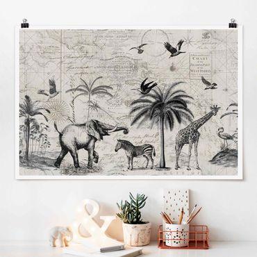 Poster - Vintage Collage - Exotische Landkarte - Querformat 2:3