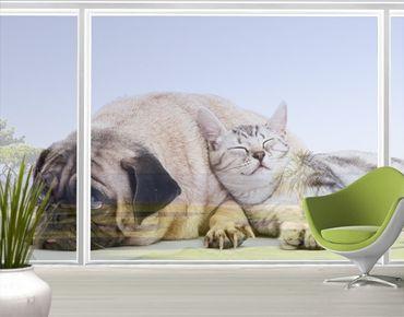 Fensterfolie - XXL Fensterbild Beste Freunde - Fenster Sichtschutz