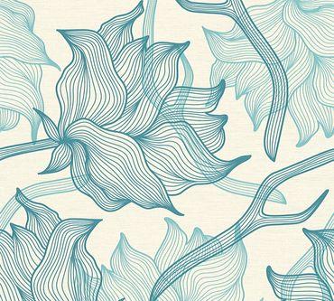 Lars Contzen Mustertapete Artist Edition No. 1 Dried Flowers in Blau, Creme
