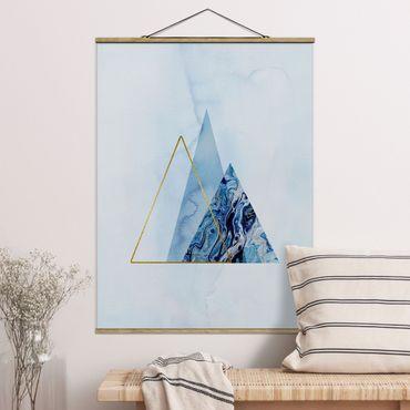 Stoffbild mit Posterleisten - Geometrie in Blau und Gold II - Hochformat 4:3