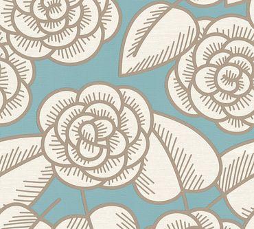 Lars Contzen Mustertapete Artist Edition No. 1 Fleur Côtiere in Blau, Braun, Creme
