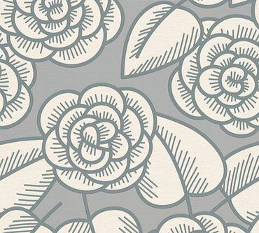 Lars Contzen Mustertapete Artist Edition No. 1 Fleur Côtiere in Grau, Weiß