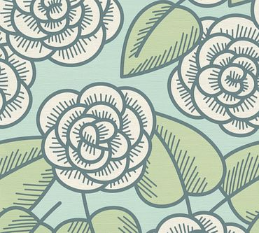Lars Contzen Mustertapete Artist Edition No. 1 Fleur Côtiere in Blau, Grün, Weiß