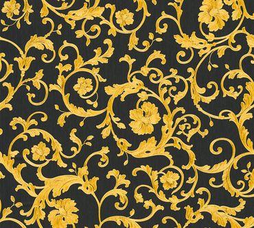 Versace wallpaper Mustertapete Versace 3 Butterfly Barocco in Gelb, Metallic, Schwarz