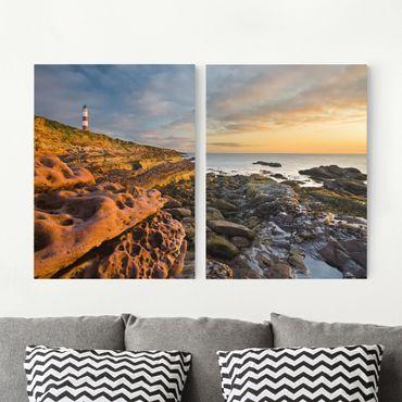 Leinwandbild 2-teilig - Tarbat Ness Meer & Leuchtturm bei Sonnenuntergang - Hoch 3:4