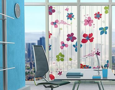 Fensterfolie - XXL Fensterbild Floral Pattern - Fenster Sichtschutz