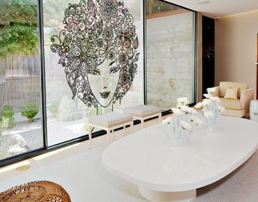 Fensterfolie - XXL Fensterbild Blumen im Haar - Fenster Sichtschutz