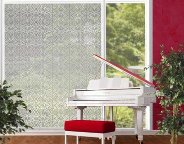 Fensterfolie - XXL Fensterbild No.TA97 Antikes Muster Silber - Fenster Sichtschutz