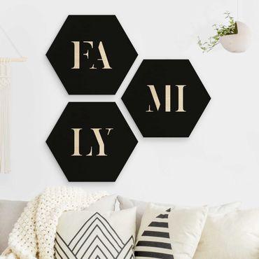 Hexagon Bild Holz 3-teilig - Buchstaben FAMILY Weiß Set I