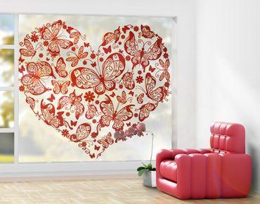 Fensterfolie - XXL Fensterbild Herz aus Schmetterlingen - Fenster Sichtschutz