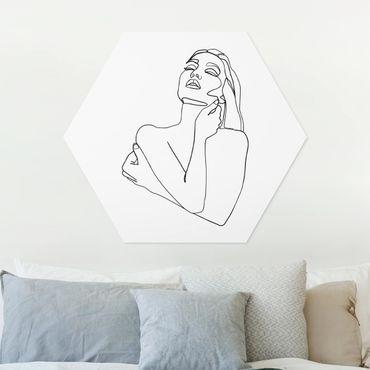 Hexagon Bild Forex - Line Art Frau Oberkörper Schwarz Weiß