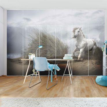 Schiebegardinen Set - Weißes Pferd in den Dünen - Flächenvorhänge