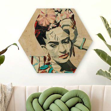 Hexagon Bild Holz - Frida Kahlo - Collage No.1