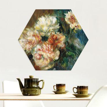 Hexagon Bild Alu-Dibond - Auguste Renoir - Vase Pfingstrosen