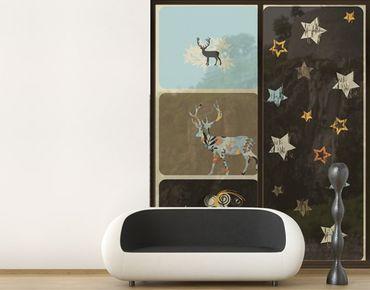 Fensterfolie - XXL Fensterbild Deer Textured Starry Sky - Fenster Sichtschutz