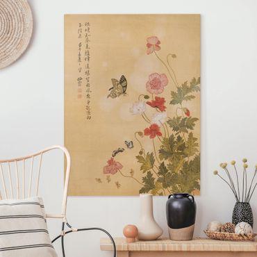 Leinwandbild - Yuanyu Ma - Mohnblumen und Schmetterlinge - Hochformat 4:3